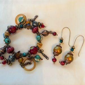Treska Stretch Bracelet, Multi-Colored w/ Earrings